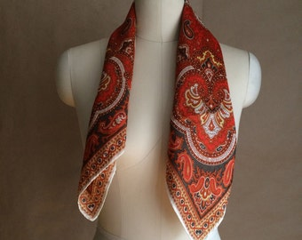 brilliant 70's / paisley pattern / boho bohemian hippie / neck scarve / scarf / head wrap