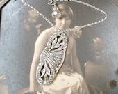 Antique Art Deco/Nouveau Necklace Paste Rhinestone 1920s Flapper Pendant Necklace Statement Silver Vintage Bridal Great GATSBY Downton Abbey