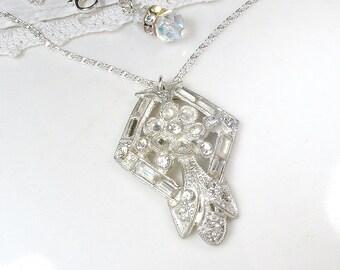 Antique Art Deco Rhinestone Necklace, 1920s Bridal Necklace, Flapper Jewelry Silver Pendant Necklace 1930 Paste Baguette Vintage Dress Clip
