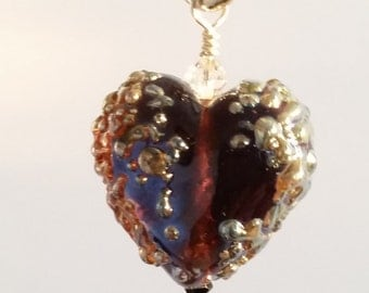 "Sterling Silver and Lampwork Heart Pendant. Clare Scott Bead. Purple with ""Molten Silver"" Speckles"