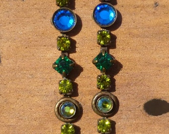 Vintage Sorrelli Crystal, Glass And Enamel Dangle Stud Earrings