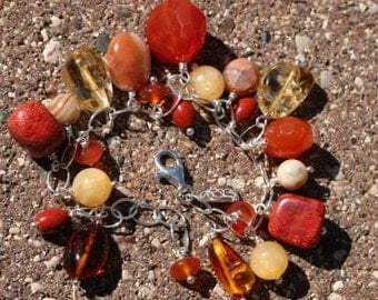 Chunky Cha Cha in Oranges and Golds, Carnelian, Coral, Citrine, Amber, Jasper, and Agate
