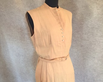 Vintage 50's Wiggle Dress, Subtle Nude Color, Sleeveless, Rockabilly, Small, Waist 27