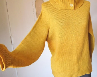 FALL FAVORITE...Vintage 70's Turtleneck Sweater, Mustard Yellow, Knit Wool Pullover, Women's Small to Medium