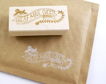 Shop Exclusive rubber stamp - Best Mail Ever banner - modern lettering with florals