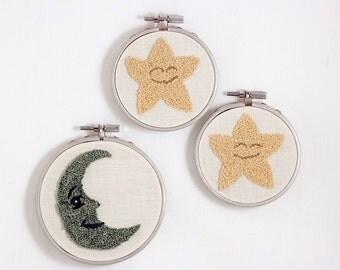 Nursery Wall Art Moon and Stars Baby Gift Set. Embroidery Hoop Wall Art. Shower Present. Fiber Art. Blue and Yellow. Celestial Art.