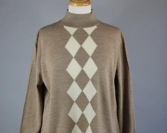 Vintage 90s Women's Brown Cream Diamond Pattern Argyle Fine Gauge Merino Wool Pullover Turtleneck Sweater