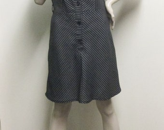 Vintage 1960's Black and Grey Stripe Dress