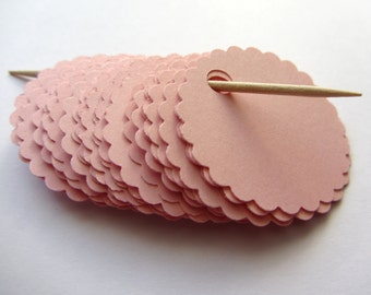Pink blank hole punched tags Pink Favor tags Scalloped circle tags Wedding tags Wedding favors Gift tags Pink Baby shower