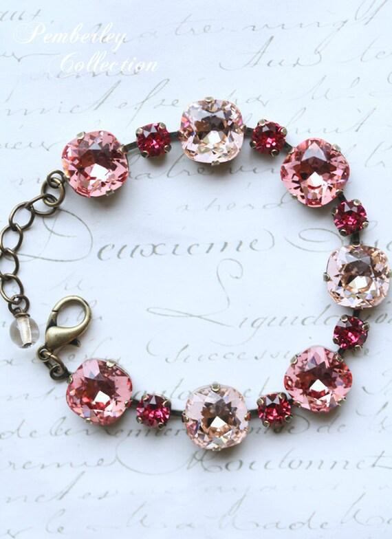 Cushion Cut Bracelet Pink Swarovski Multi-Colored