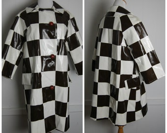 1960s MOD Brown and White Checker Board Rain Jacket