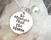 Be stronger than the storm with a faux pearl-semi colon Pendant, semicolon project, can personalize, strength charm, mental health necklace