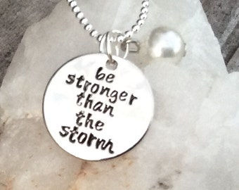 Be stronger than the storm with a faux pearl semi colon Pendant, semicolon project, can personalize, strength charm, mental health necklace