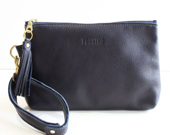 Leather Zipper Pouch / Clutch bag / Purse Clutch / Makeup Pouch with Strap Handle and Tassel Charm- Navy Blue