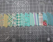 Vintage 1930 Robin's Egg and Aqua FABRIC - UNUSED  -Novelty  Floral- Gingham- Quilting Pieces - Fan/Pinwheel - 61 Pieces