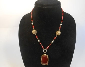 A Lesson in Marriage - Vintage 1920s Red Cut Glass Large Pendant Necklace w/Brass Filigree Baubles