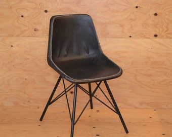 Unique Black Leather Modern Industrial Chair With White Stitching & Black Iron Legs