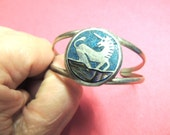 Southwestern Turquoise Unicorn Cuff Bracelet Bangle Vintage Jewelry