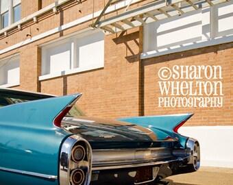 Classic Car - 1960 Cadillac - Retro Metallic Fine Art Photograph - American Automobilia - Cruisin the Coast - Blue Automotive Decor