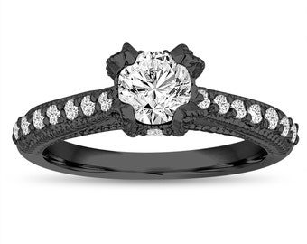 GIA Diamond Engagement Ring 0.84 Carat 14K Black Gold Vintage Style Unique Handmade Certified
