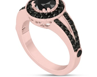 Fancy Black Diamonds Engagement Ring 14k Rose Gold 1.60 Carat Unique Pave Halo Handmade Certified