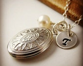 Personalized Locket Necklace, Romantic Jewelry Gift for Her, Sterling Silver
