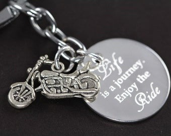 Motorcycle Keychain, Motorcycle Gifts Custom Engraved Inspirational Gift, Life is a Journey Enjoy the Ride, Engraved Keychain