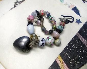 Beaded Bracelet - White and Pastels Rustic Heart Bracelet - Vintage Japanese Floral Glass, Lampwork, Faceted Polymer - Metal Heart Focal
