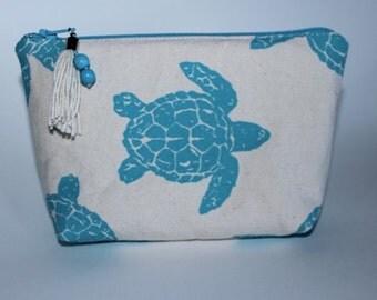 AquaSea Turtle Hand Printed on Canvas Cosmetic Bag with Boho Beaded Tassel Zipper Pull