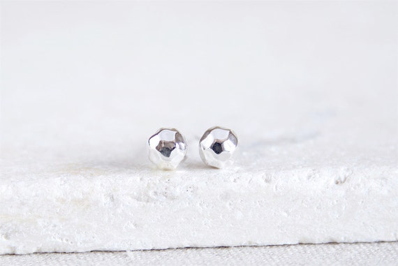 Hammered Ball Studs | sterling silver ball earrings 6mm | Ready to Ship