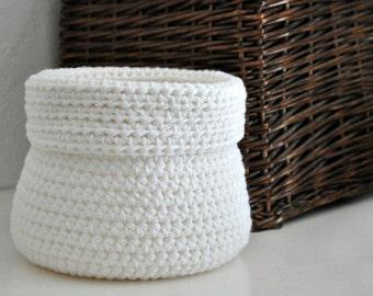White  Basket Catchall Storage Bin Modern Decor Contemporary Design