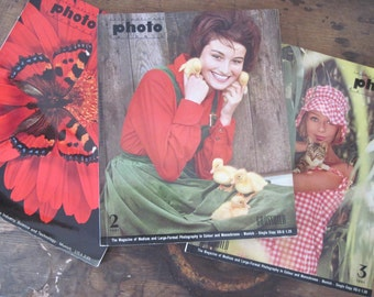 1960s INTERNATIONAL PHOTO TECHNIK magazine - Grossbild Photography Art / Trade mag, German /English language edition - 3 issues: 1961, 1970
