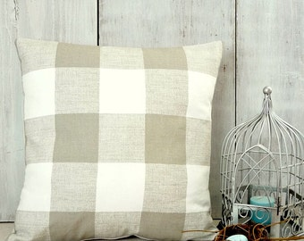 Tan Check Pillow Cover - Ecru Plaid Pillow - Taupe Buffalo Check Pillow - Tan and White Check Pillow - Farmhouse - Cottage - Traditional
