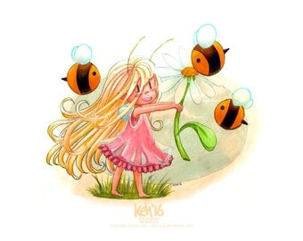 Teasel & Bees - A6 size print of original cute fantasy fairy pencil crayon and marker illustration - postcard size