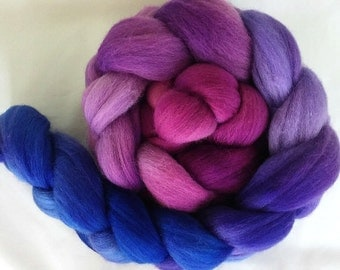 "Hand Dyed Polwarth Top 4 Oz.  ""Purple to Blue Gradient "" for Spinning or Felting"
