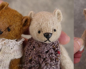 "Matilda  Miniature 4""  Mohair Artist Teddy Bear  from Aerlinn Bears"
