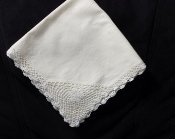 "Vintage 16"" square napkin/ hankie with handmade crochet edge"