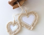 No. 006 crochet heart stationery blank white heart tags