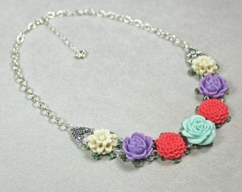 Flower Garden Necklace - Flower Necklace - Pastel Necklace - Spring Necklace - Summer Necklace - Bib Necklace