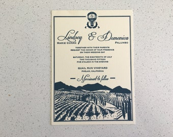 Letterpress Wedding Invitations - Vineyard
