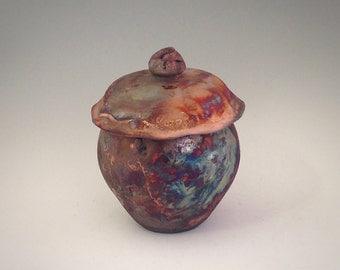 Raku Vase with Lid - Wheel Thrown Clay, Ceramic, Pottery - Ceramic Fine Art - One of a Kind Gift - Raku Vessel - Raku Art - Handmade Clay