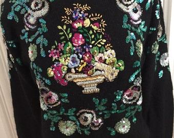 Beaded Sequin Sweater, Silk Angora Blend, Aqua Silver Flowers on Black, Work in Progress by Gladys Bagley