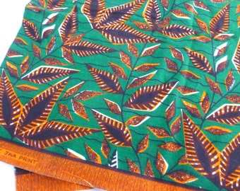Genuine Java Print Fabric in Orange, Green and Brown Wax Print Geometric Leaves Ethnic Tribal Destash Yards Yardage