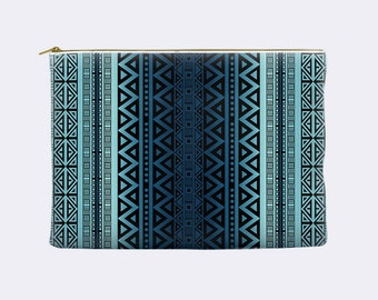 Tribal Cosmetic Bag, blue ombre, toiletry bag, cosmetic pouch, makeup bag, large cosmetic bag, zippered pouch, small clutch