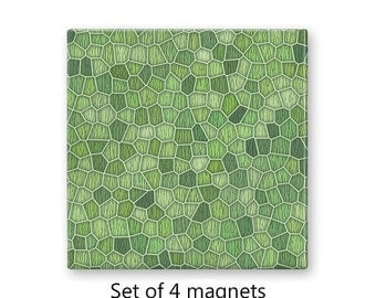 Fridge magnets, refrigerator magnets, celery green magnet set, set of 4 decorative magnets, kitchen decor, large magnets, abstract magnets