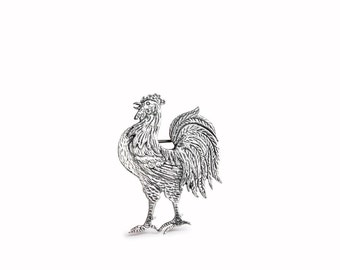 Rooster Sterling Silver Pin