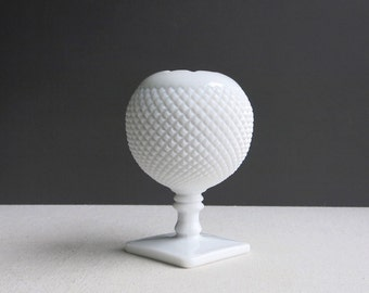 Vintage Westmoreland Milk Glass Ivy Ball Vase - Round White Vase Spherical