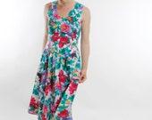 Vintage 80's dress, button front, sleeveless, full skirt, floral, waist ties, cute spring / summer dress, cotton - Medium