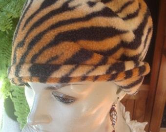 Womens chemo hat chemo beanie chemo soft hat chemo hat animal print fleece hat