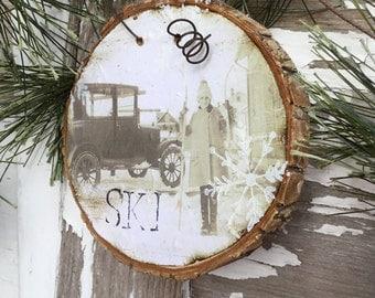 Sweet Vintage Ski Girl - Christmas Ornament - Wood Slice Ornament - Skier - Tag - Gift - Rustic - Hostess Gift